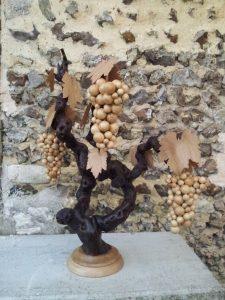 Grappe de raisin ( buis) et feuille (chêne)